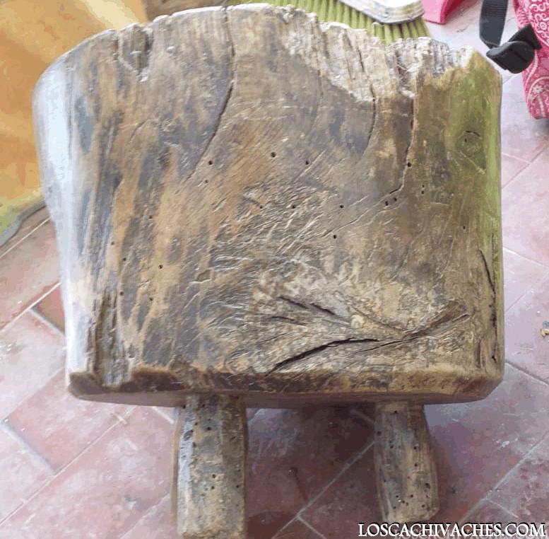 4 cachivaches, banco para ordeñar,ganado,vacas,antiguo,madera de haya