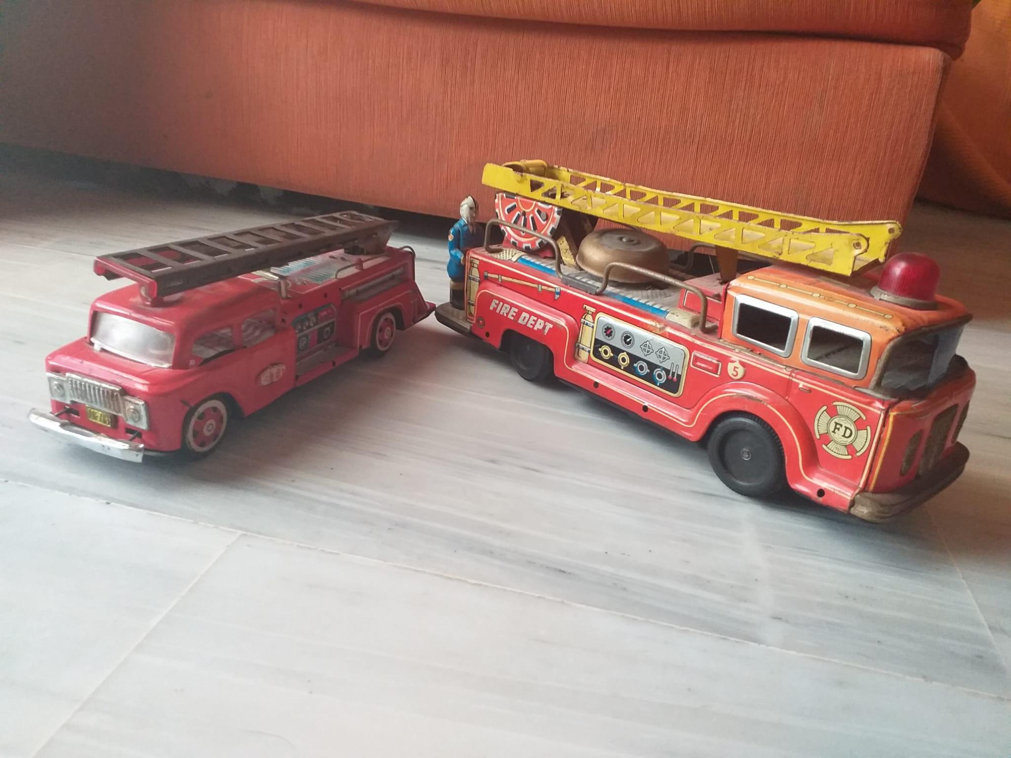 Juguetes de lata camiones bomberos, hojalata, juguetes antiguos, colección