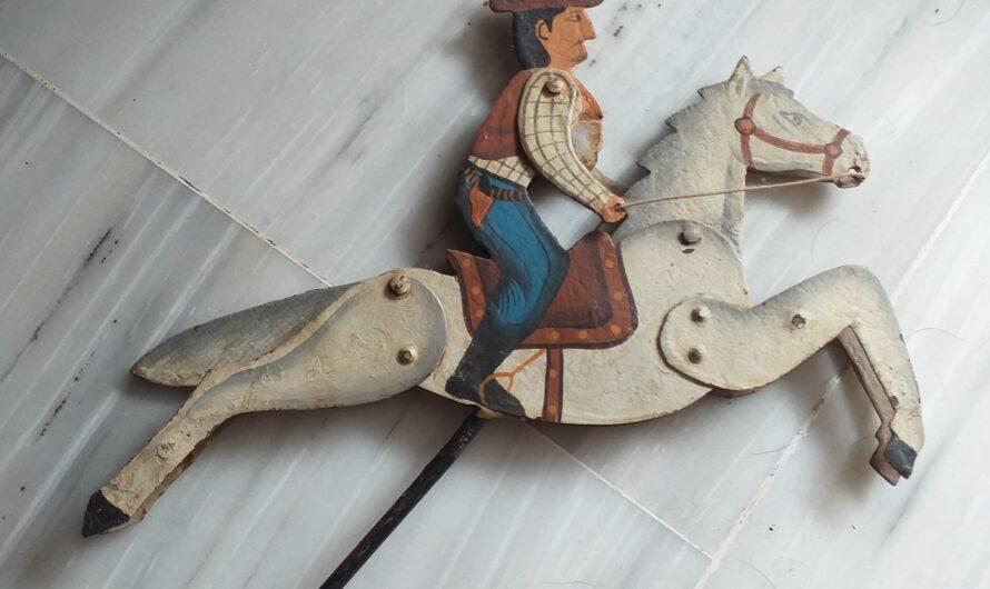 Juguete Vaquero con Caballo con péndulo – Juguetes Antiguos